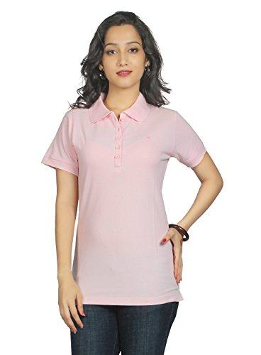 Aliep Aliep Pink Cotton Solid Polo Neck Tshirt For Women | AL1048PNK (Multicolor)