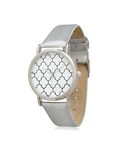Olivia Pratt Women's 13423 Metallic Quatrefoil Silver/White/Black Leather Watch