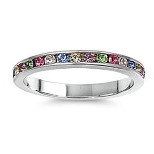 1.00 CT Sterling Silver Rhodium Plated Round Multi Color CZ Cubic Zirconia Ladies Eternity Stackable Ring Wedding Anniversary Band (Available in size 6, 7, 8) size 5