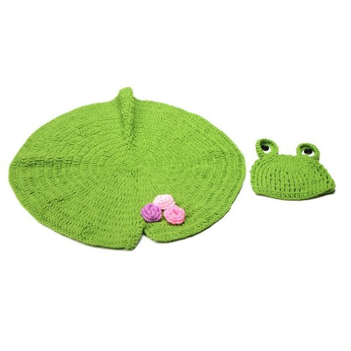 BlueTop(TM) Infant Costume Photography Lily Pad Mat Frog Hat Handmade Knit Crochet