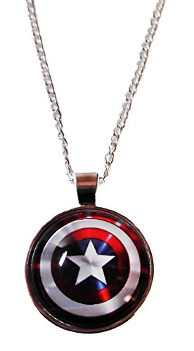 "Marvel Comics CAPTAIN AMERICA Logo Shield Glass Dome PENDANT on 20"" Chain"