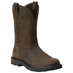 Ariat Men\'s Groundbreaker Pull-On Work Boot, Brown/Brown, 14 2E US