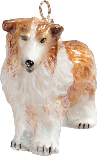The Pet Set Blown European Glass Dog Ornament by Joy To The World Collectibles – Tan White Rough Collie