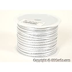 White with Silver Edge Satin Ribbon with Gold Edge 1/8 inch 100 Yards