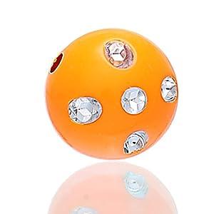 Housweety 100 Acryl Spacer Perlen Beads Weiss Strass Orange 12mm