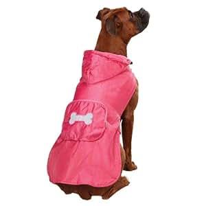 Casual Canine Fleece Lined Stowaway Rain Jacket, XX-Small, Pink