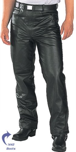 Classic Fitted (biker motorcycle or Casual) Men's Leather Pants - Color : black - Size : 44