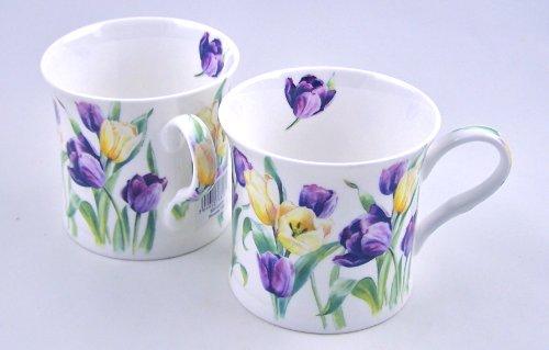 Fine English Bone China Mugs - Heath McCabe Princess Wild Tulip Chintz - Set of Two