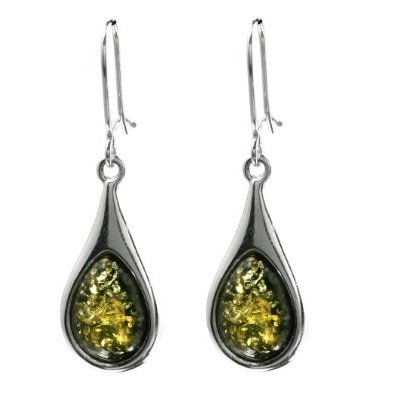 Baltic Green Amber and Sterling Silver Drop Earrings