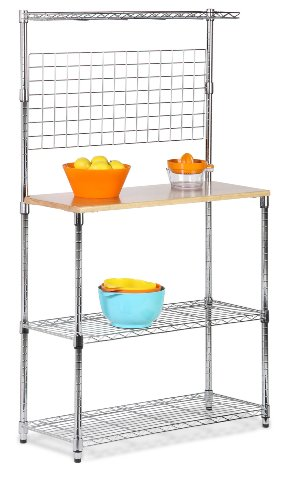 Honey-Can-Do SHF-01608 Bakers Rack with Kitchen Storage, Steel and Wood (Honey Can Do Shelving Unit compare prices)