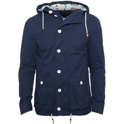 Bellfield Mens Navy Beacon Jacket Drawstring Hood and Waistband Zip White Button Navy XX-Large