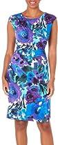 Connected Apparel Womens Watercolor Floral Dress 12 Purple multi