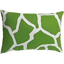 Zoreye Decorative Throw Pillow (154GRNWHT_1212) 12x18 Standard Lumbar Pillow Green, White Giraffe Print