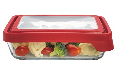 Anchor Hocking 6 Cup TrueSeal Rectangle Food Storage Container, Cherry