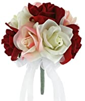 Red, Pink and Ivory Silk Rose - Toss Bouquet