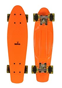 Ridge Skateboard 69 cm 27 Inch Nickel Cruiser Retro Stil M Rollen Komplett Fertig Montiert, Pb-27-Orange-Cleargreen
