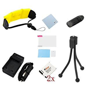 GTMax 8pc Accessory Bundle for Nikon COOLPIX S31 AW110 AW100 AW100s : 2x Replacement Battery + Charger + Floating Waterproof Strap + Screen Protector + Tripod + Memory Card Reader + Cloth