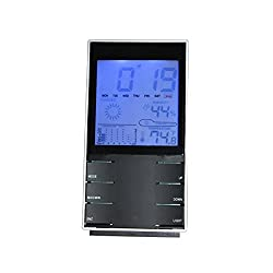 [Deals Sales Today 2016] IBEET 6 in 1 Multifunctional Wireless Electronic Weather Station - Thermometer, Hygrometer, Humidity, Alarm Clock, Weather Forecast, Time Calendar, Temperature Trend Black