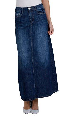 Womens full length denim skirt ladies maxi long skirt (68), 14 US/44 EU, Blue Denim Maxi Skirt