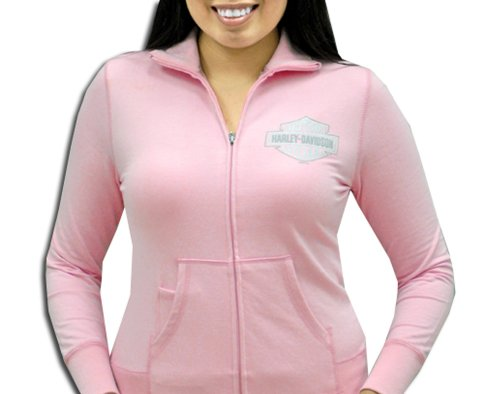 Harley-Davidson® Womens Mini Grey B&S Mock Neck Pink Long Sleeve Full Zip (Small)