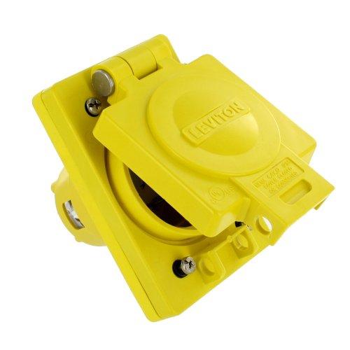 Leviton 68W74 30 Amp, 125/250 Volt, Nema L14-30, 3P, 4W, Ip66 Rated Cover, Grounding, Corrosion Resistant, Wetguard, Single Locking Inlet, Yellow
