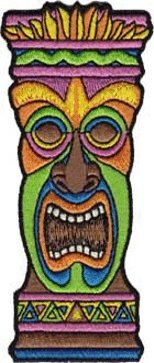 .com: Tiki Totem Pole (Hawaiian) Patch (Neon Multi-colored): Clothing