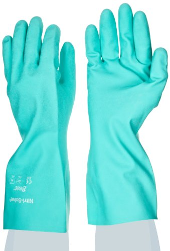 SHOWA 730 Nitrile Glove, Flock-Lined, Chemical Resistant, 15 mils Thick, 13
