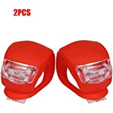 Aroko® 2-pack of Blue Silicone LED Bike / Bicycle Lights Set- Front & Rear,Red(2pcs Red)