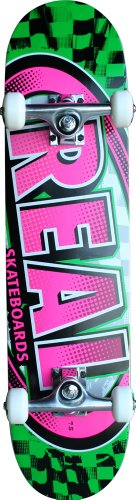 Real Pop Icon Med Complete Skateboard (Green/Pink, 7.50-Inch)