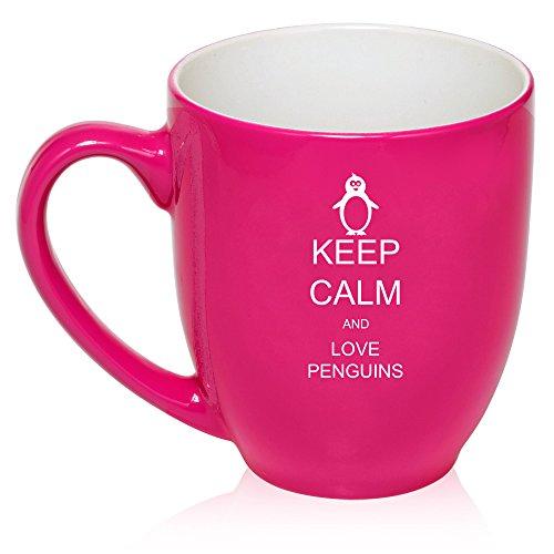 16 Oz Hot Pink Large Bistro Mug Ceramic Coffee Tea Glass Cup Keep Calm And Love Penguins