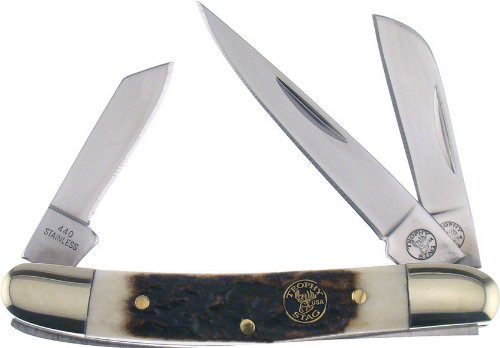 Frost Cutlery & Knives Ts114Ds Trophy Stag Range Rider Pocket Knife With Genuine Stag Handles