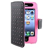 Fosmon Wallet Style Leather Case For Apple iPhone 4 / 4S - Black with Pink Dots