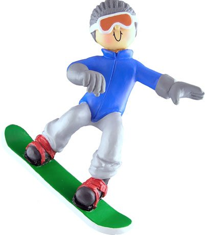 Male Snowboarder Personalized Christmas Ornament