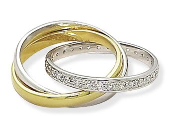 Sterling Silver Three Band 14K Gold Plate and Rhodium Plated CZ Ring / Size 7