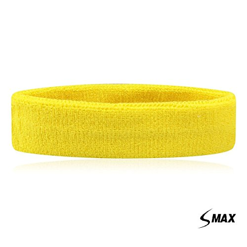 SMax Sportline Hauptband, Frottee-Stirnband, Fitness-Workout-Yoga-Übung & Fitness (gelb)