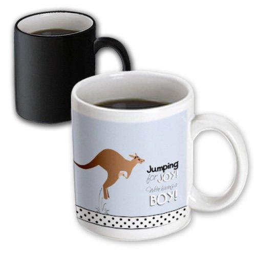 Inspirationzstore Occasions - Jumping For Joy Having A Boy - Cute Kangaroo Blue Baby Shower Pregnancy Birth Its A Boy Announcement - 11Oz Magic Transforming Mug (Mug_120296_3)
