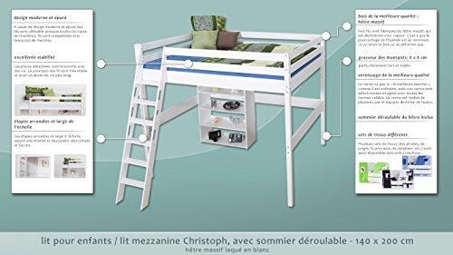 Lit pour enfants / lit mezzanine Christoph hêtre massif laqué en blanc avec sommier déroulable - 140x200 cm
