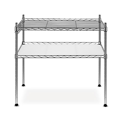 Homfa 2-Tier Stainless Steel Microwave Oven Rack, Multi function Kitchen Shelves Shelf Storage Rack, Kitchen Adjustable Shelf Storage Organizer,Chrome (2 Shelf Microwave Cart compare prices)