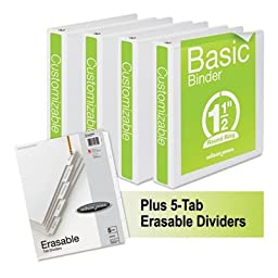 Wilson Jones Basic Round-Ring View Binder Plus Pack, 1 1/2\