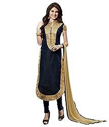 3G9 shop Designer Black Golden Chanderi Embroidered Semi Stitched Salwar Suit Dupatta Dress Material
