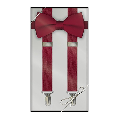 Suspender & Bow Tie Set (Adult, Apple Red) (Red Bow Tie)