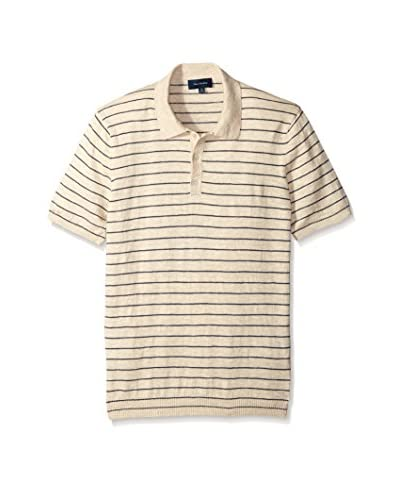 Thirty Five Kent Men's Short Sleeve Striped Slub Knit Polo