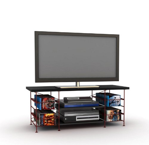 buy low price flat panel lcd tv stand with silver metal on board media storage az00 49045 21159. Black Bedroom Furniture Sets. Home Design Ideas