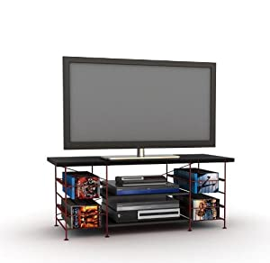 flat panel lcd tv stand with red metal on board media storage television stands. Black Bedroom Furniture Sets. Home Design Ideas