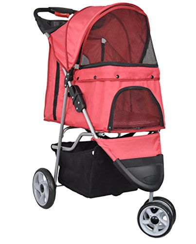 VIVO Three Wheel Pet Stroller, for Cat, Dog and More, Foldable Carrier Strolling Cart, Multiple Colors (Red)
