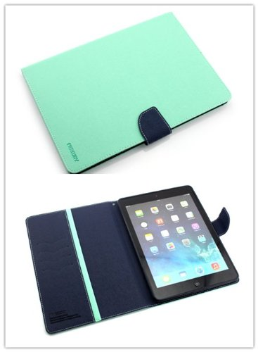 Big Dragonfly New Arrival Slim Fit Folio Premium Pu Leather Case With Cover And Hard Back Case And Flip Kickstand For Apple Ipad Air 9.9 Inch With Magnetic Closure & Card Slots Automatically Wake/Sleep Function(Mint Green Surface & Dark Inky Blue Inner Si