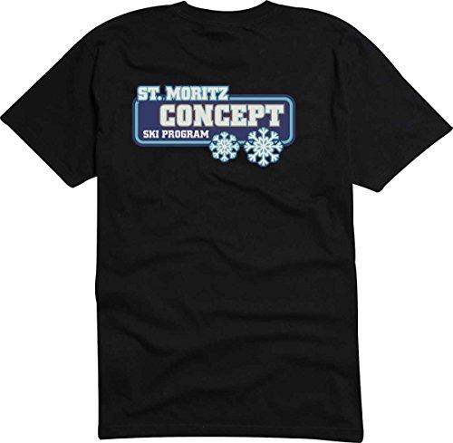 T-Shirt-Camiseta-D822-Hombre-negro-con-la-impresin-en-color-XXL-diseo-Tribal-cmico-logo-grfico-deportismo-invierno-montaas-STMORITZ