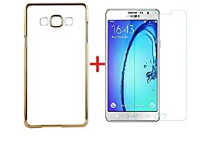 (COMBO OFFER ) for SAMSUNG GALAXY ON 5 PRO /ON 5- Transparent Soft Silicon Flexible Electroplated Edges TPU Back Case Cover + Premium Tempered Glass screen pretector (Transparent/Gold Border)