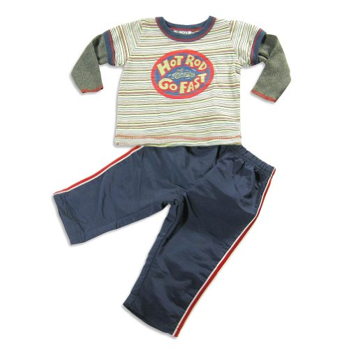 Mis Tee V-Us - Baby Boys 2 Piece Long Sleeve Hot Rod Pant Set, Navy, Multi 22204-18Months front-202999