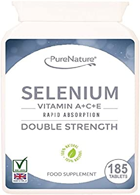 Selenium Double Strength Rapid Absorption Easy to Swallow Tablets Providing 400% Recommended Daily Allowance Plus Essential Vitamins A, C & E - 6 Month Supply Suitable for Vegetarians FREE UK Delivery from Distributed by Be-Beautiful-Online